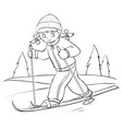 girl in winter clothes is skiing in forest vector image vector image