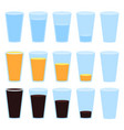 glass of water juice and soda isolated vector image vector image