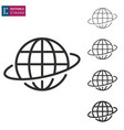 globe line icon on white background editable vector image