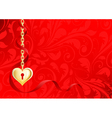gold heart on a chain on a red background with pat vector image vector image
