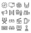 gray line movies icons set vector image vector image