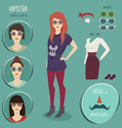 Hipster girl character with hipster elements vector image