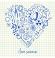 i love science doodles in heart vector image vector image