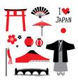 japan flat icons design travel set vector image