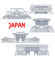 japanese travel landmarks with thin line buildings vector image vector image