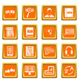 learning foreign languages icons set orange vector image vector image