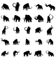 Mammoth silhouette set vector image