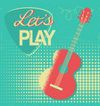 music poster with acoustic guitar on old retro vector image