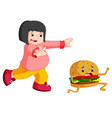 overweight woman chasing hamburger cartoon vector image