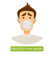 person wearing white medical protection mask to vector image