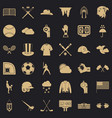 play baseball icons set simple style vector image vector image