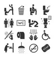 restroom icon set washroom and bathroom symbols vector image vector image