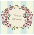 Roses in circle vintage frame vector image