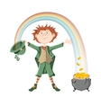 Saint Patricks Day Leprechaun and pot of gold vector image vector image
