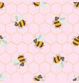seamless pattern with cute cartoon bee and vector image vector image