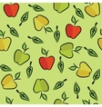 Seamless with apples and leaves vector image
