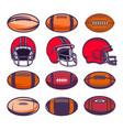 set american football balls and helmets design vector image