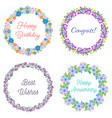 set of four floral wreaths vector image