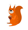 squirrel red cartoon icon vector image