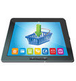 Tablet pc with shopping cart icon - ecommerce conc