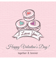 valentine card with macaroni and wishes text vector image vector image