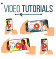 video tutorial set streaming video online vector image vector image