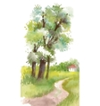 Watercolor painting landscape with blooming spring vector image