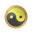 yin yang symbol in golden silver frame sacred vector image