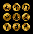 yoga poses icons set with female silhouette vector image