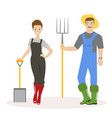family of farmers man in green rubber boots a vector image