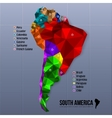 Map South America showing states in polygonal vector image