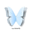 Blue butterfly cut out of paper vector image