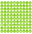 100 rain icons set green circle vector image vector image