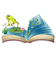 A book witn an image of a frog and fishes vector image vector image