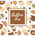 background with various coffee cups vector image