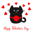 black cat icon with round bow red heart set cute vector image vector image