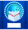 Bowling plaque on blue background vector image vector image