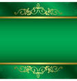 bright green card with floral gold decorations vector image