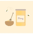 Cartoon Bee Jar Honey Retro Healthy Natural vector image