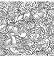 cartoon doodles diving seamless pattern vector image