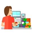 Cashier at supermarket checkout vector image vector image