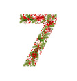 christmas floral tree number 7 vector image vector image
