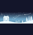 christmas nigh panorama silhouettes kids vector image vector image
