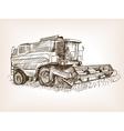 Combine harvester sketch style vector image vector image