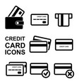 credit card icon set vector image vector image