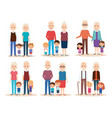 cute grandparents couple with grandchildren vector image