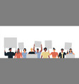 diverse young people parade protest set isolated vector image vector image