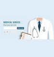 doctor holding document web banner vector image