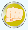 fist of the person on button vector image vector image