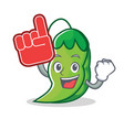 foam finger peas mascot cartoon style vector image vector image